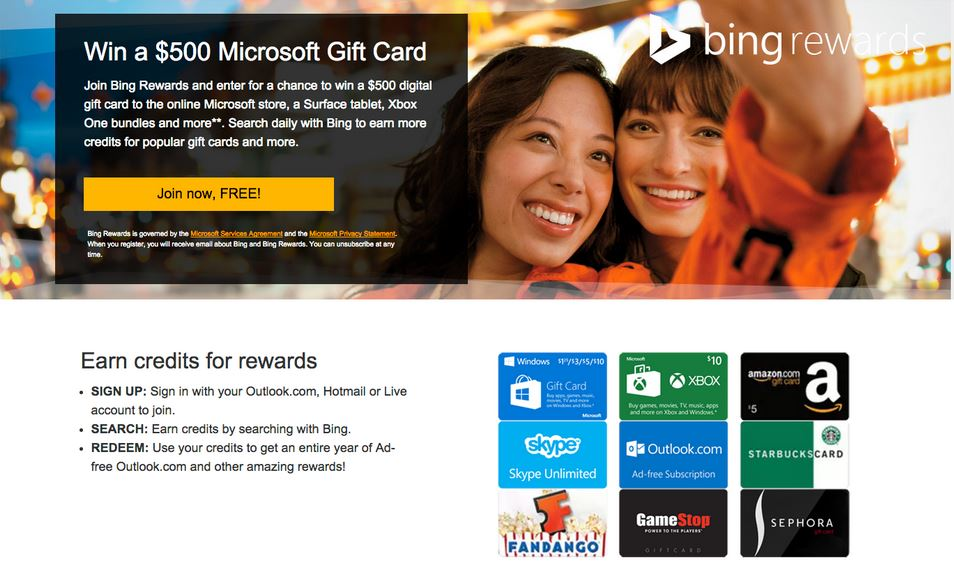 click to start getting bing rewards